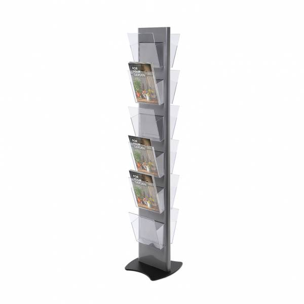 Brochure Stand TORRE, grey - with 12 A4 Pockets