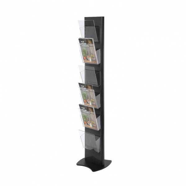 Brochure Stand TORRE, black - with 6 A4 Pockets