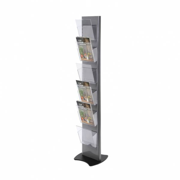Brochure Stand TORRE, grey - with 6 A4 Pockets