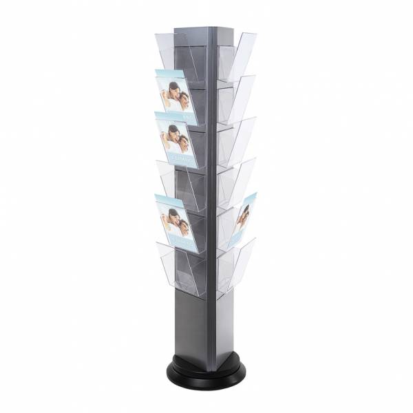 Trys Rotating - Brochure Stand, grey - with 18 A4 Pockets