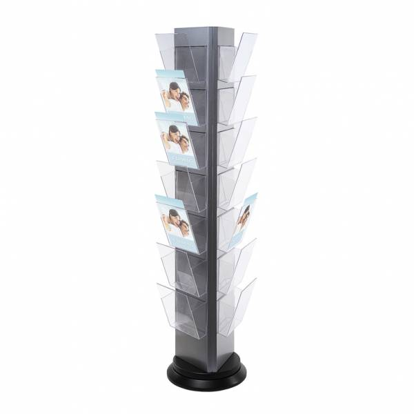 TRYS Revolving Brochure stand - 3 sided in silver & black finish