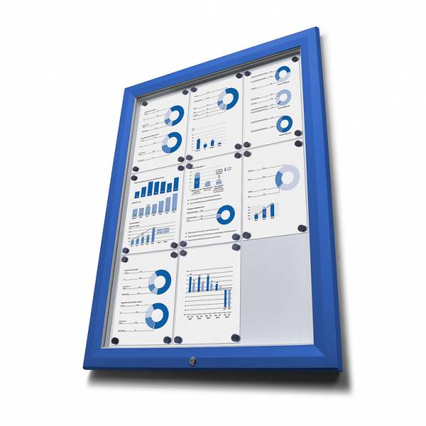 SCT Outdoor Coloured Notice Boards Blue RAL5010 8xA4
