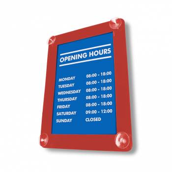 Window Suction Sign Holder A3 RED