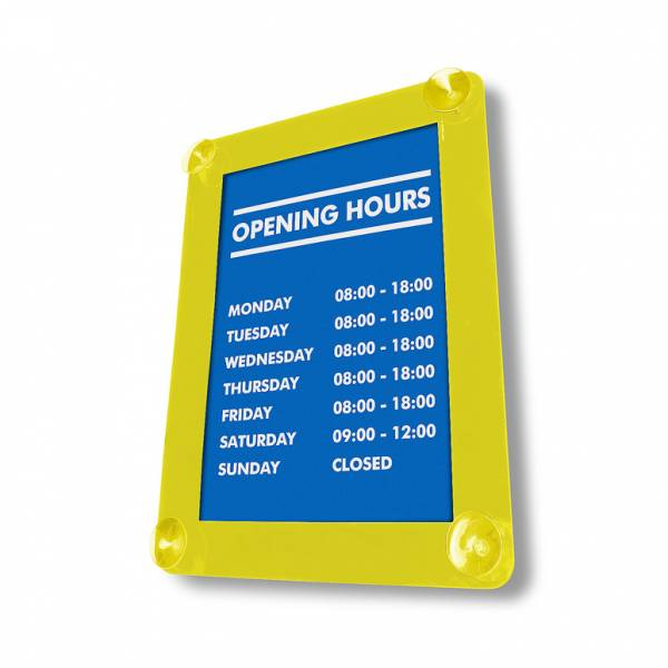 Yellow Window Suction Sign Holder (A3)