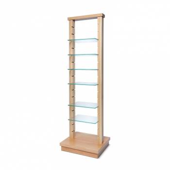 Large wooden rack with glass shelves Light Brown