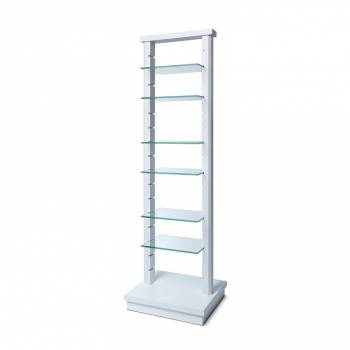Large wooden rack with glass shelves White