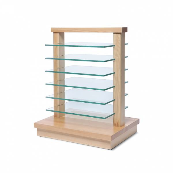 Small wooden rack with glass shelves Light Brown