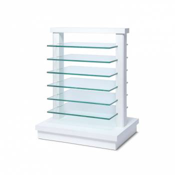 Small wooden rack with glass shelves White