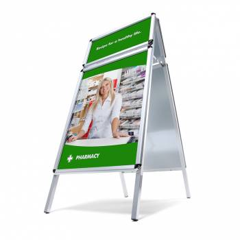 Header A Board pavement sign - Silver 32mm profile